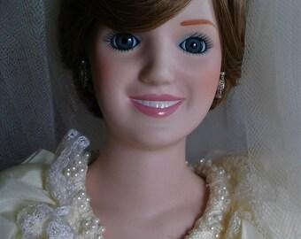 Princess Diana Porcelain Bridal Doll by Danbury