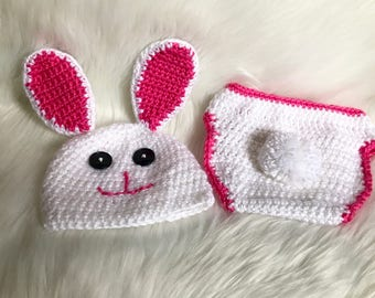 Newborn Bunny Hat and Diaper Cover set