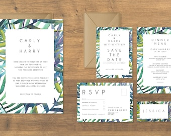 The Leafy Wedding Collection, Save the Date, Wedding Invitation, RSVP, Order of Service, Wedding Dinner Menu, Table and Number Cards
