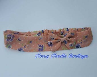 Peach chiffon headband bow, Chiffon bow, Blue and peach flowers headband, Church headband,Elegant headband