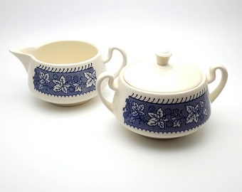 Vintage Creamer and sugar bowl kitchen ware made in USA americana dish wear serving set white china with blue decorative painting Milk Cream