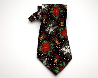 Christmas 90s Turtle Doves Bells and Poinsettias Tie Vintage Holiday Necktie Toys Gifts Winter December Party Happy Holidays Holly Mistletoe