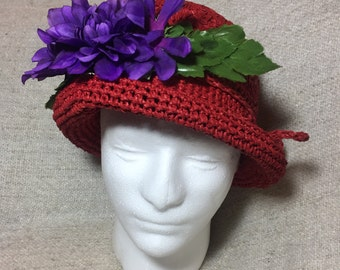 Red and purple hat - hand crocheted