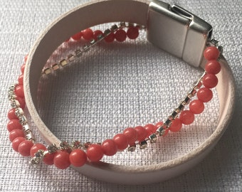 Leather Crystal Wrap Bracelet with Beads