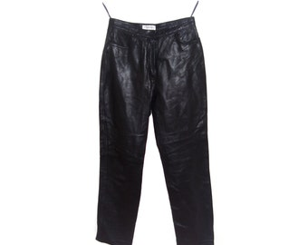 Vintage Apanage ® Live Leather women pants genuine leather black