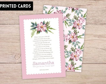 Will You Be My FlowerGirl Card, Will You be My FlowerGirl, Personalised Will You Be My Flowergirl, flowergirl Card, pink delicate floral