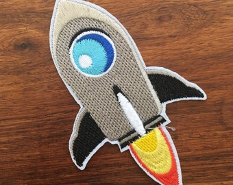 Rocket Ship - Iron on Appliqué Patch