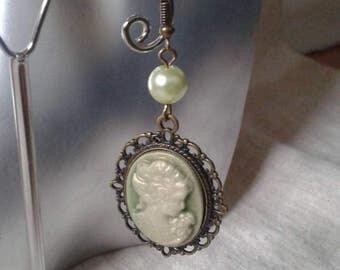 Green cameo earrings