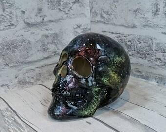 Galaxy ceramic skull, Hand Painted, cosmic design, pretty birthday gift, decorative ornament, weird and wonderful