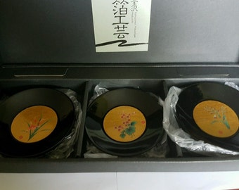 5 Hakuichi Gold Leaf Plates - Original Box
