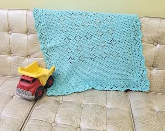 Handmade Crotche Ocean Blue Baby Blanket