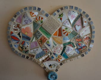 Mosaic Heart in Blues