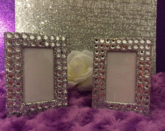 bling and sparkly picture frames 2 per set for wedding birthday or desk