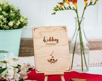 Bespoke Wedding invitation engraved in cherry veneer wood