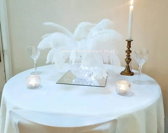 Ostrich Feather Fishbowl Wedding bar mitzvah bat mitzvah party table centrepiece ***HIRE ONLY LONDON***