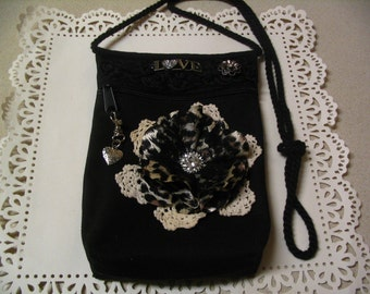 Embellished Canvas Altered Handbag Zipper Pouch Evening Bag Accessory Pouch Shabby Chic Collection