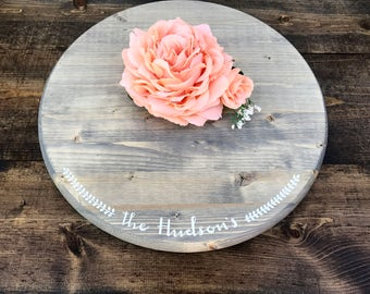 "18"" Custom Rustic Cake Stand - Round Wedding Cake Stand - Rustic Wedding Decor"