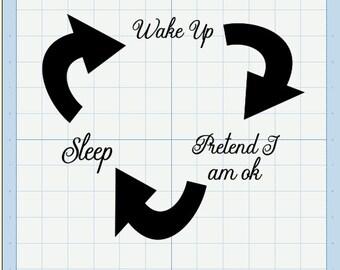 Wake, pretend, Sleep SVG