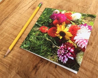 Dahlia Notecard- Sunflower Bouquet