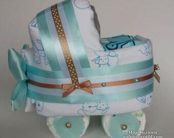 Diaper baby boy blue n beige stroller