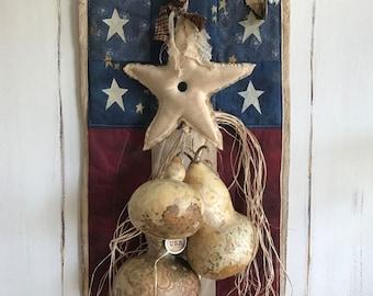 Handmade /Dried Gourd Door Hanger/ Primitive Star and Gourd Cubbard Hanger/ Dried Gourds