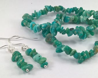 Amazonite stretchy bracelet and earrings, Amazonite earrings, green gemstone bracelet and earrings, amazonite, green gemstone,