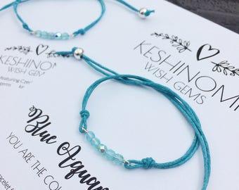 Birthstone bracelet, March birthstone, wish bracelet, friendship bracelet, birthday gift ideas, gift for her, aquamarine, personalised gift