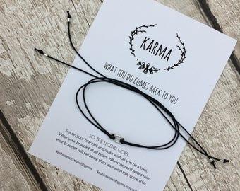 Karma bracelet, karma anklet, wish bracelet, silver wish bracelet, summer gift ideas, bestfriend gift, gifts under 10, yoga jewellery, black