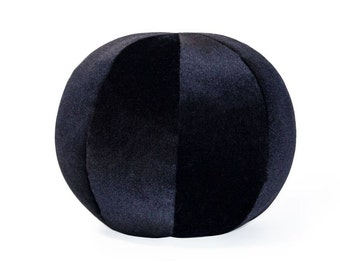 Black Mohair Ball Pillow