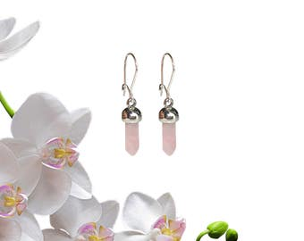 Rose Quartz Earrings | Dangle Earrings | Silver Earrings