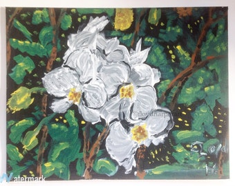 orchid painting acrylic painting x canvas floral painting greenery painting orchid decor flower art flower decor decor: day orchid decor