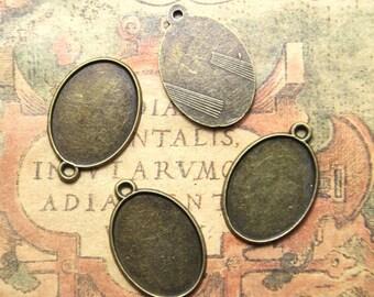 15pcs vintage bronze Tone oval Glass Cabochon settings pendants fit 25mmx18mmmm glass dome  asd1196