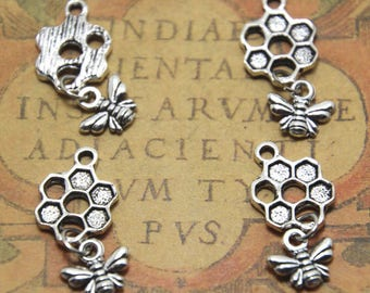 30pcs Bee and Honeycomb Charms silver tone Bee and Honeycomb Charms pendants 13 x 20 mm ASD1626