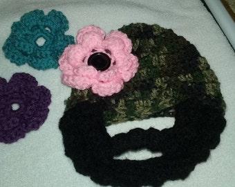 Female Camo Crochet Hat with Beard
