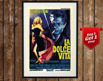 La Dolce Vita- Vintage Movie Poster, Federico Fellini, Dolce Vita Poster, Dolce Vita Fellini, Classic Movie, Old Movie, Vintage Print