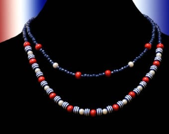 Double strand red, white and blue beaded necklace, perfect for the 4th of July