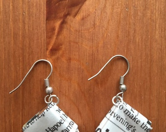 Recycled newspaper earrings
