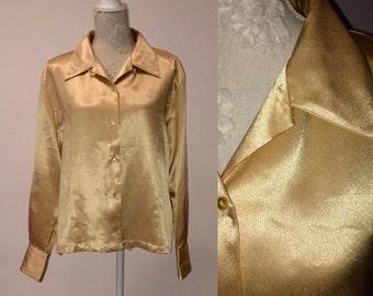 1980s Metallic Liquid Gold Blouse, Disco style, Satin Women Blouse