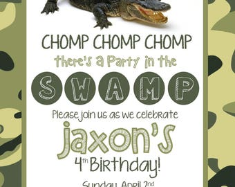 Chomp Chomp Chomp There's a Party in the Swamp Party Invitation