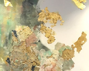 Rise Series #3: Original Abstract Oil Painting with Gold Leaf on Canvas