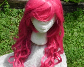 Pink Wig, Pinkie Pie wig, MLP, Cosplay, Long Curly Wig, Fuschia, Magenta, Bangs, mlp, cosplay,