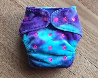 MCN Modern Cloth Nappy - Minky Tie Dye Purple / Aqua