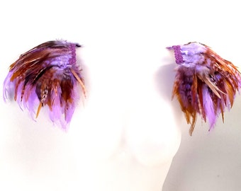 Feather epaulettes of lilac purple and golden feathers. Pastel feather wings. 'Amethyst'