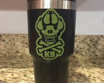 K-9 Skull and Cross Bones 30oz Tumbler
