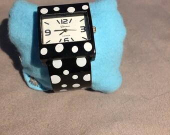 Geneva Black and White Polka Dot Watch
