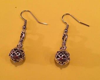 Machined ball earrings