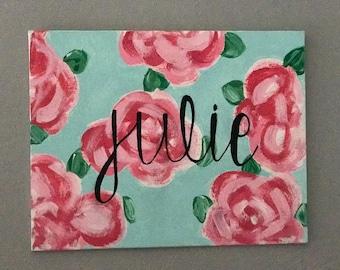 monogram, lilly print canvas