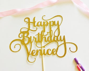 Swirly Happy Birthday Cake Topper