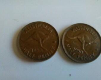 Half Penny, 1950, Australian, Coins,
