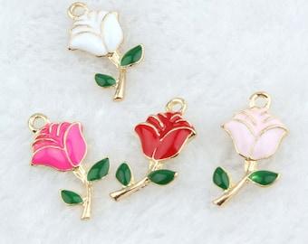 10pcs/lot  Enamel Flower Rose Charms Pendant  Jewelry Supplie,Rose Flowers Charm Bracelet Necklace Pendants, Findings Diy Accessories